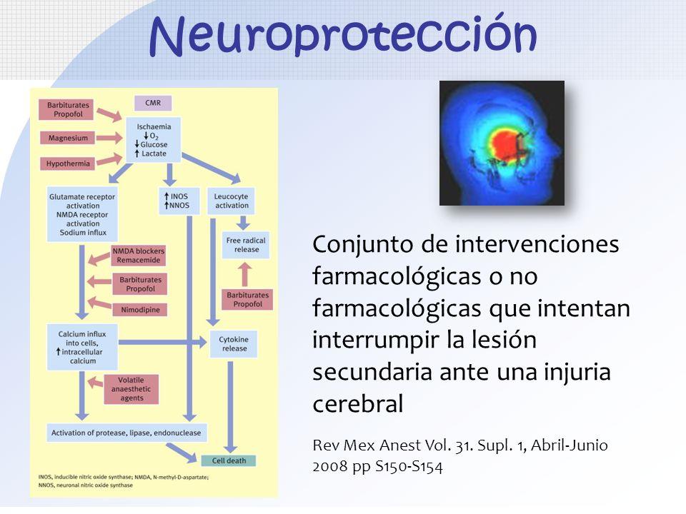 Neuroprotección Conjunto de intervenciones farmacológicas o no farmacológicas que intentan interrumpir la lesión secundaria ante una injuria cerebral