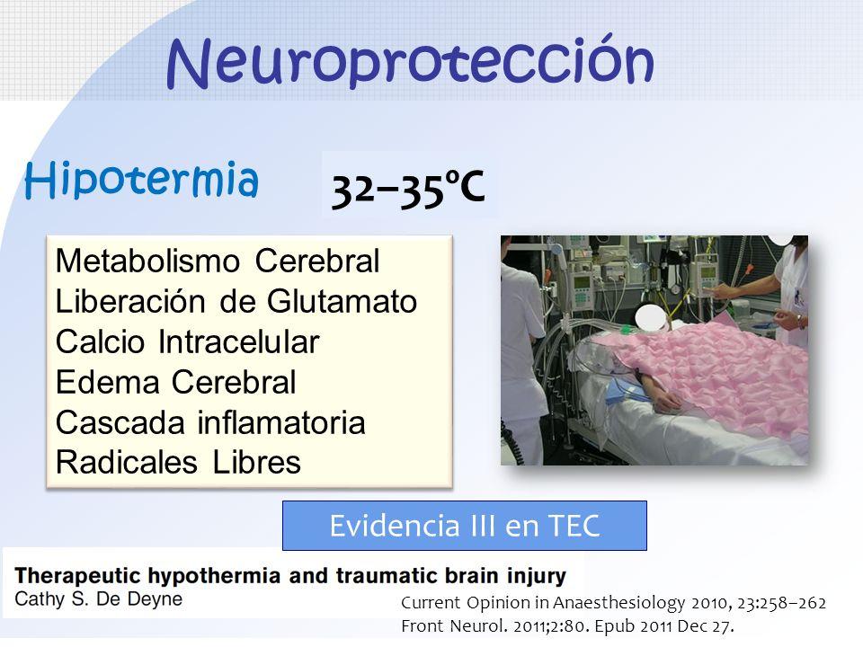 Neuroprotección Hipotermia Metabolismo Cerebral Liberación de Glutamato Calcio Intracelular Edema Cerebral Cascada inflamatoria Radicales Libres Metab