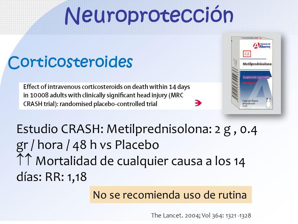 Corticosteroides Estudio CRASH: Metilprednisolona: 2 g, 0.4 gr / hora / 48 h vs Placebo Mortalidad de cualquier causa a los 14 días: RR: 1,18 The Lanc
