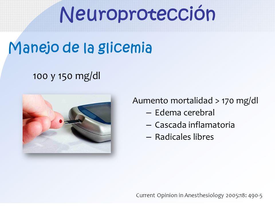 Manejo de la glicemia 100 y 150 mg/dl Aumento mortalidad > 170 mg/dl – Edema cerebral – Cascada inflamatoria – Radicales libres Neuroprotección Curren