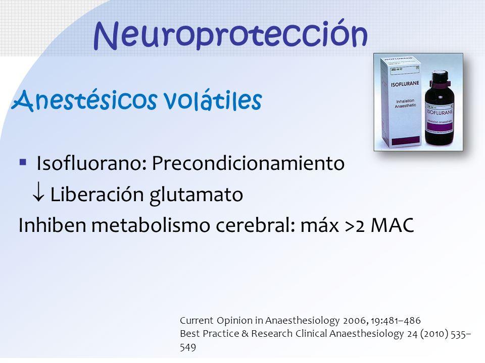 Anestésicos volátiles Isofluorano: Precondicionamiento Liberación glutamato Inhiben metabolismo cerebral: máx >2 MAC Neuroprotección Current Opinion i