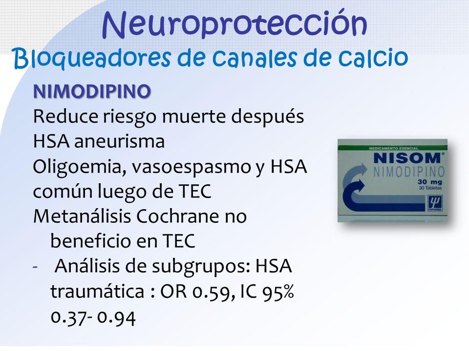 Neuroprotección NIMODIPINO Reduce riesgo muerte después HSA aneurisma Oligoemia, vasoespasmo y HSA común luego de TEC Metanálisis Cochrane no benefici