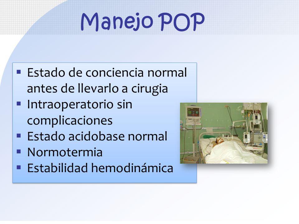 Estado de conciencia normal antes de llevarlo a cirugia Intraoperatorio sin complicaciones Estado acidobase normal Normotermia Estabilidad hemodinámic