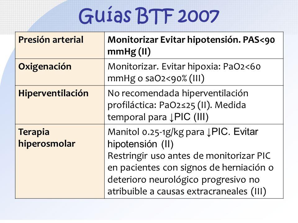 Guías BTF 2007 Presión arterialMonitorizar Evitar hipotensión. PAS<90 mmHg (II) OxigenaciónMonitorizar. Evitar hipoxia: PaO2<60 mmHg o saO2<90% (III)