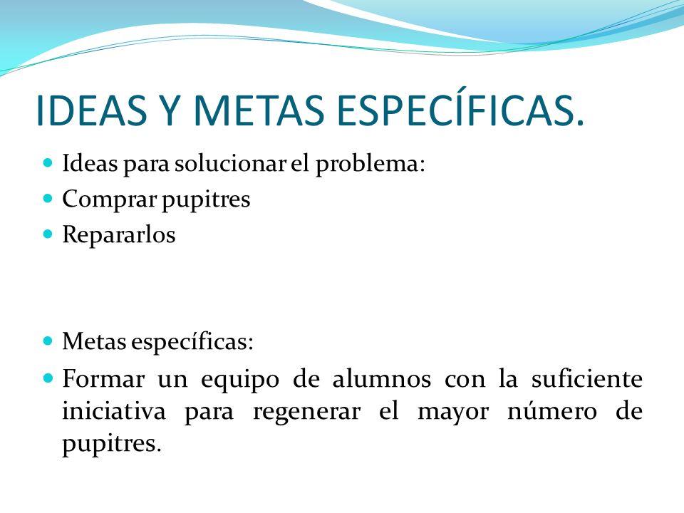 IDEAS Y METAS ESPECÍFICAS.