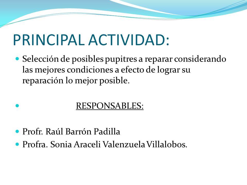 PRINCIPAL ACTIVIDAD: Selección de posibles pupitres a reparar considerando las mejores condiciones a efecto de lograr su reparación lo mejor posible.