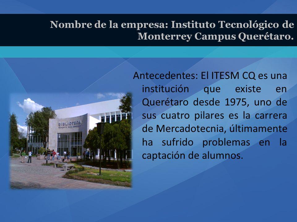 Antecedentes: El ITESM CQ es una institución que existe en Querétaro desde 1975, uno de sus cuatro pilares es la carrera de Mercadotecnia, últimamente ha sufrido problemas en la captación de alumnos.