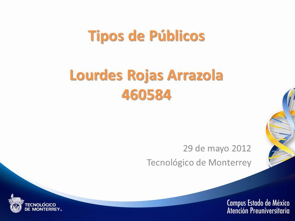 Tipos de Públicos Lourdes Rojas Arrazola 460584 29 de mayo 2012 Tecnológico de Monterrey 1