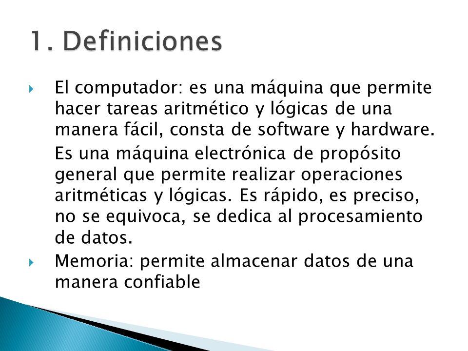El computador: es una máquina que permite hacer tareas aritmético y lógicas de una manera fácil, consta de software y hardware.