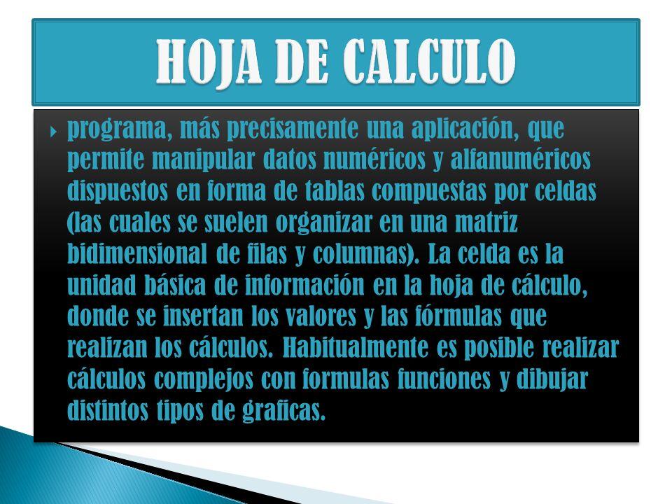 programa, más precisamente una aplicación, que permite manipular datos numéricos y alfanuméricos dispuestos en forma de tablas compuestas por celdas (las cuales se suelen organizar en una matriz bidimensional de filas y columnas).