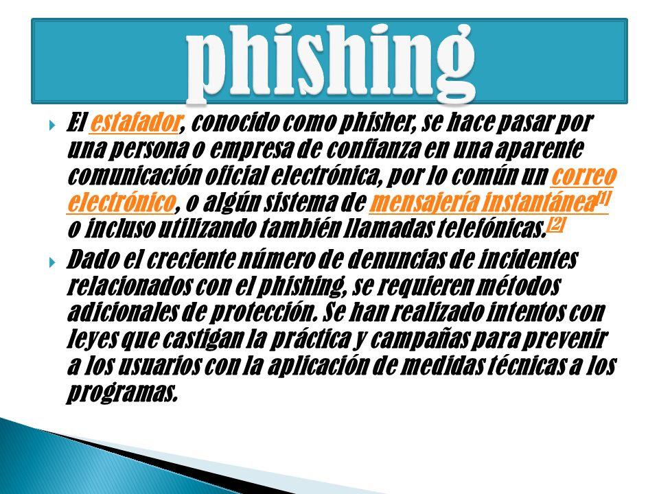 El estafador, conocido como phisher, se hace pasar por una persona o empresa de confianza en una aparente comunicación oficial electrónica, por lo común un correo electrónico, o algún sistema de mensajería instantánea [1] o incluso utilizando también llamadas telefónicas.