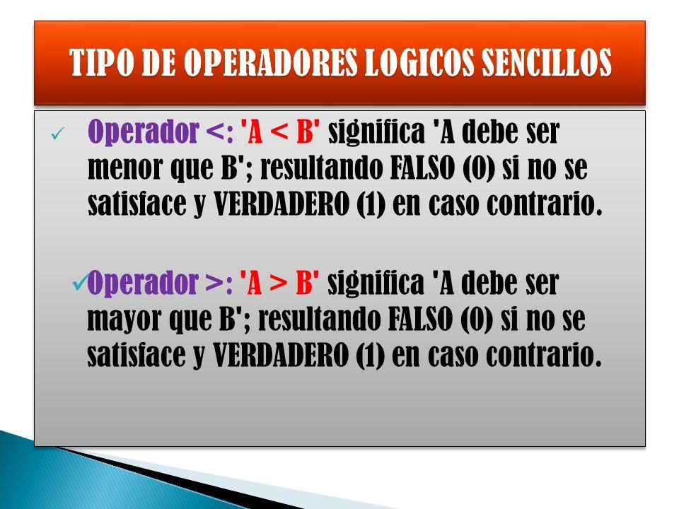 Operador <: A < B significa A debe ser menor que B ; resultando FALSO (0) si no se satisface y VERDADERO (1) en caso contrario.