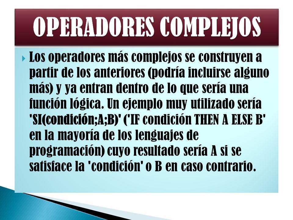 Los operadores más complejos se construyen a partir de los anteriores (podría incluirse alguno más) y ya entran dentro de lo que sería una función lógica.