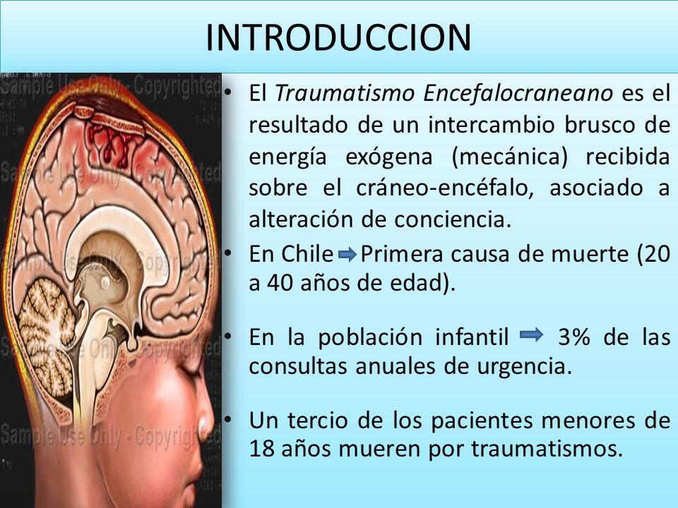 INTRODUCCION El Traumatismo Encefalocraneano es el resultado de un intercambio brusco de energía exógena (mecánica) recibida sobre el cráneo-encéfalo,
