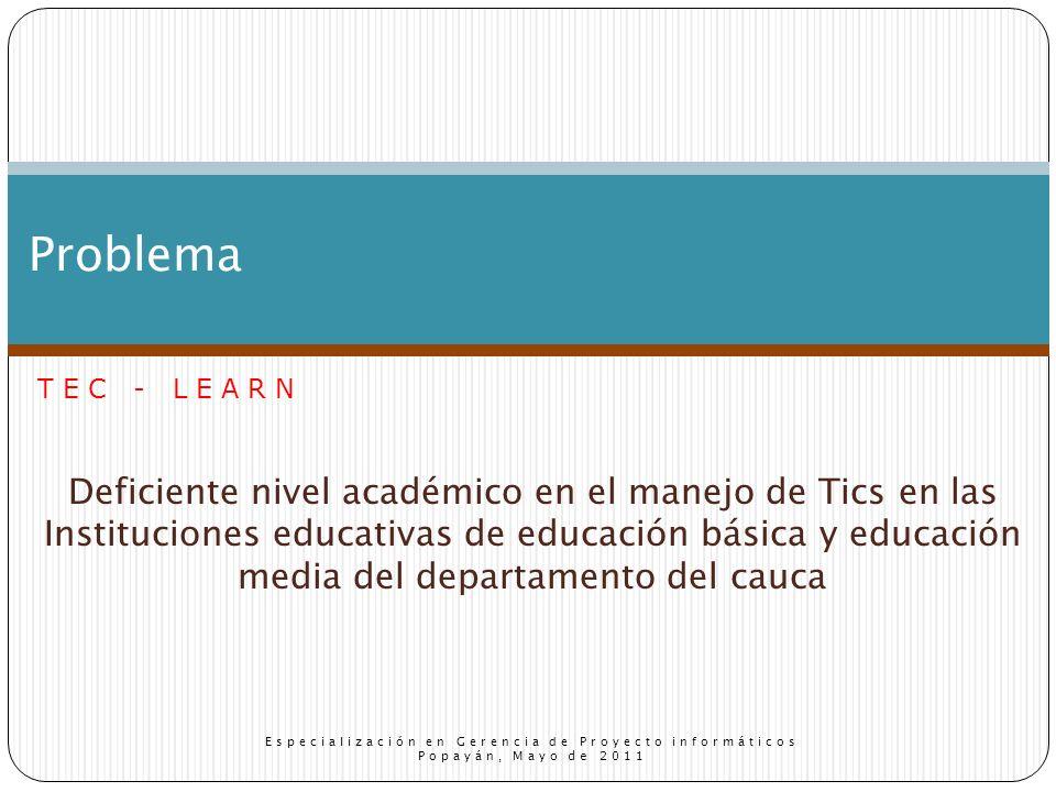 Deficiente nivel académico en el manejo de Tics en las Instituciones educativas de educación básica y educación media del departamento del cauca Problema Especialización en Gerencia de Proyecto informáticos Popayán, Mayo de 2011 TEC - LEARN