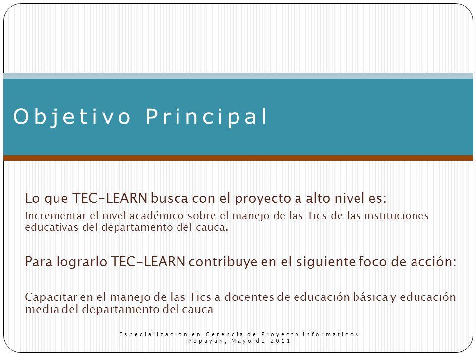 Lo que TEC-LEARN busca con el proyecto a alto nivel es: Incrementar el nivel académico sobre el manejo de las Tics de las instituciones educativas del departamento del cauca.