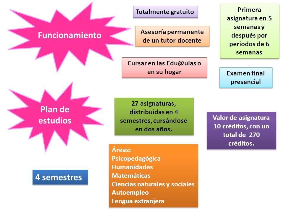 Funcionamiento Totalmente gratuito Asesoría permanente de un tutor docente Cursar en las Edu@ulas o en su hogar Examen final presencial Primera asigna