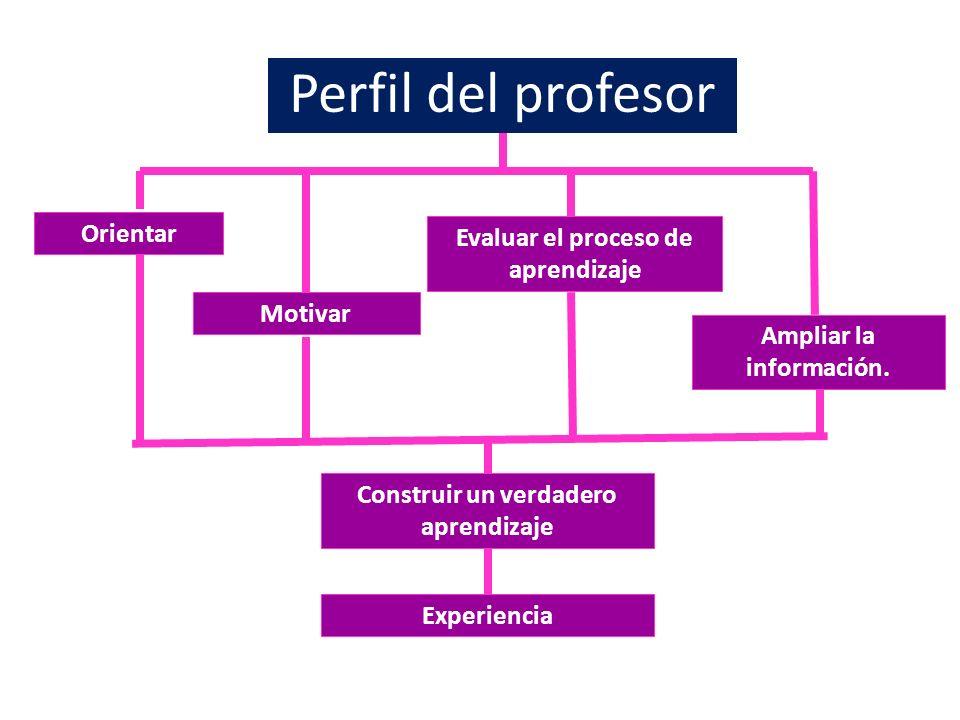 Perfil del profesor Orientar Motivar Evaluar el proceso de aprendizaje Ampliar la información. Construir un verdadero aprendizaje Experiencia