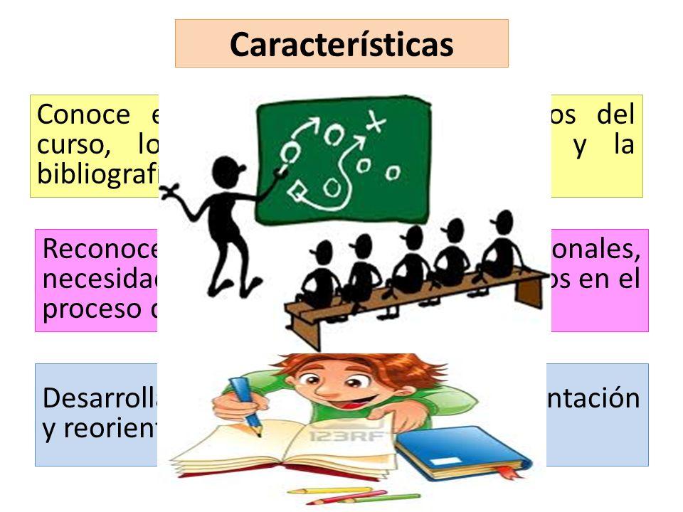 Características Conoce en profundidad los contenidos del curso, los materiales del programa y la bibliografía propuesta. Reconoce las lógicas comunica