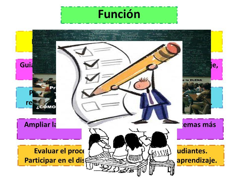 Promover el interés de los participantes en el estudio Función Guiar y/o reorientar al alumno en el proceso de aprendizaje, atendiendo a sus dudas o d
