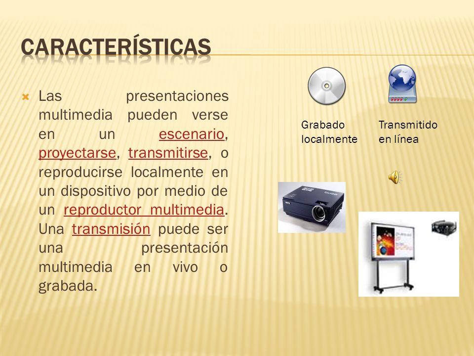Las presentaciones multimedia pueden verse en un escenario, proyectarse, transmitirse, o reproducirse localmente en un dispositivo por medio de un reproductor multimedia.