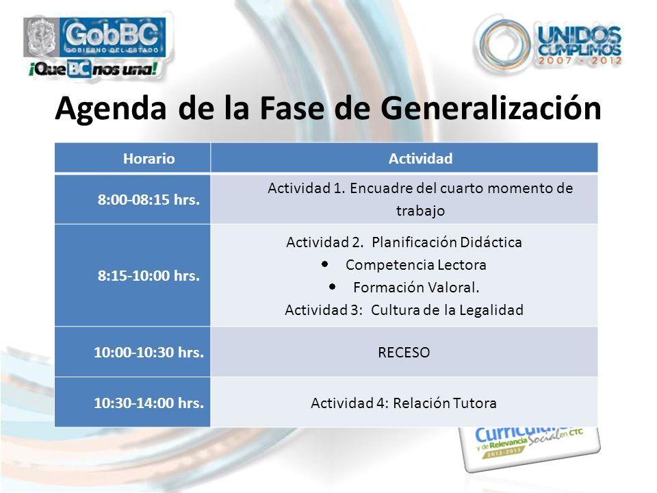 Agenda de la Fase de Generalización HorarioActividad 8:00-08:15 hrs. Actividad 1. Encuadre del cuarto momento de trabajo 8:15-10:00 hrs. Actividad 2.