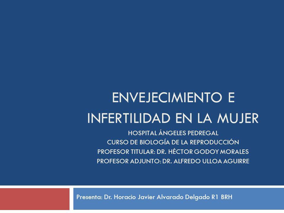 ENVEJECIMIENTO E INFERTILIDAD EN LA MUJER HOSPITAL ÁNGELES PEDREGAL CURSO DE BIOLOGÍA DE LA REPRODUCCIÓN PROFESOR TITULAR: DR. HÉCTOR GODOY MORALES PR