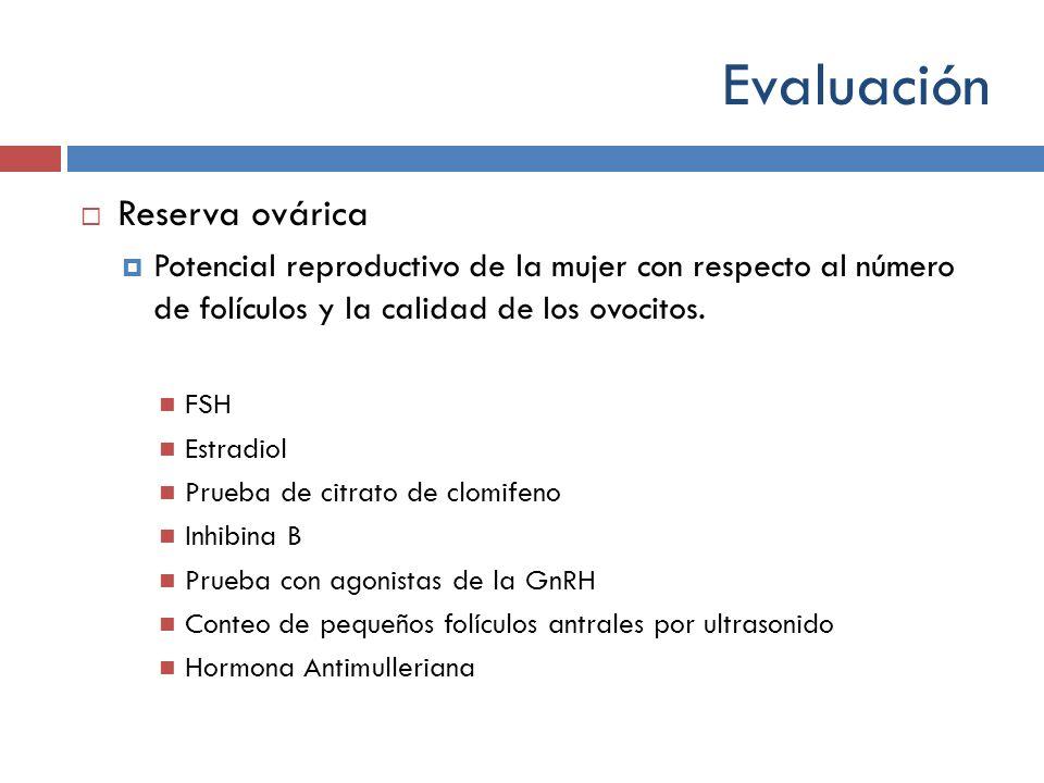 Evaluación Reserva ovárica Potencial reproductivo de la mujer con respecto al número de folículos y la calidad de los ovocitos. FSH Estradiol Prueba d