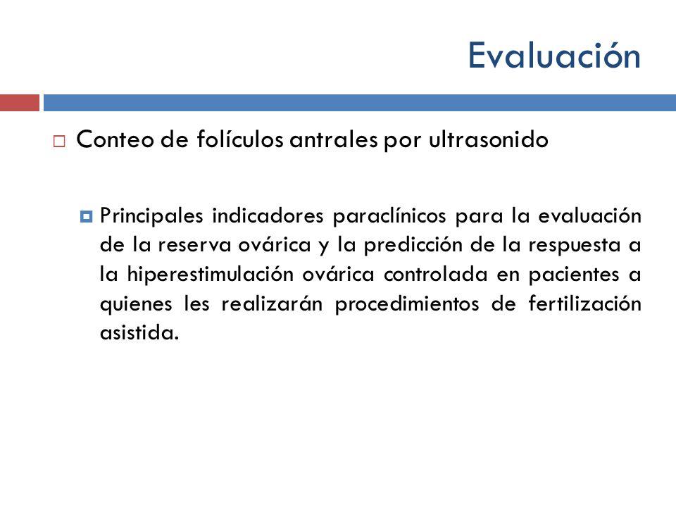 Evaluación Conteo de folículos antrales por ultrasonido Principales indicadores paraclínicos para la evaluación de la reserva ovárica y la predicción