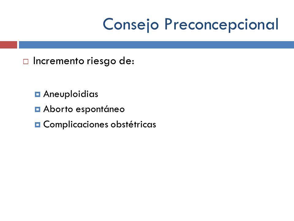 Consejo Preconcepcional Incremento riesgo de: Aneuploidias Aborto espontáneo Complicaciones obstétricas