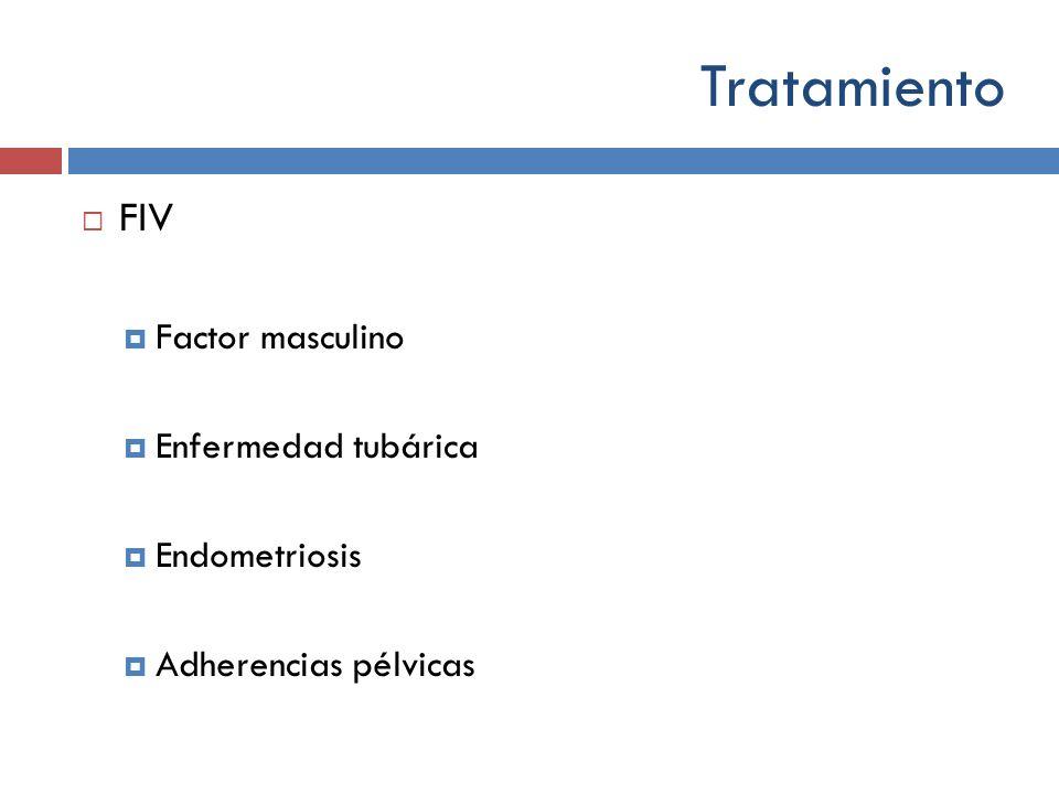 Tratamiento FIV Factor masculino Enfermedad tubárica Endometriosis Adherencias pélvicas