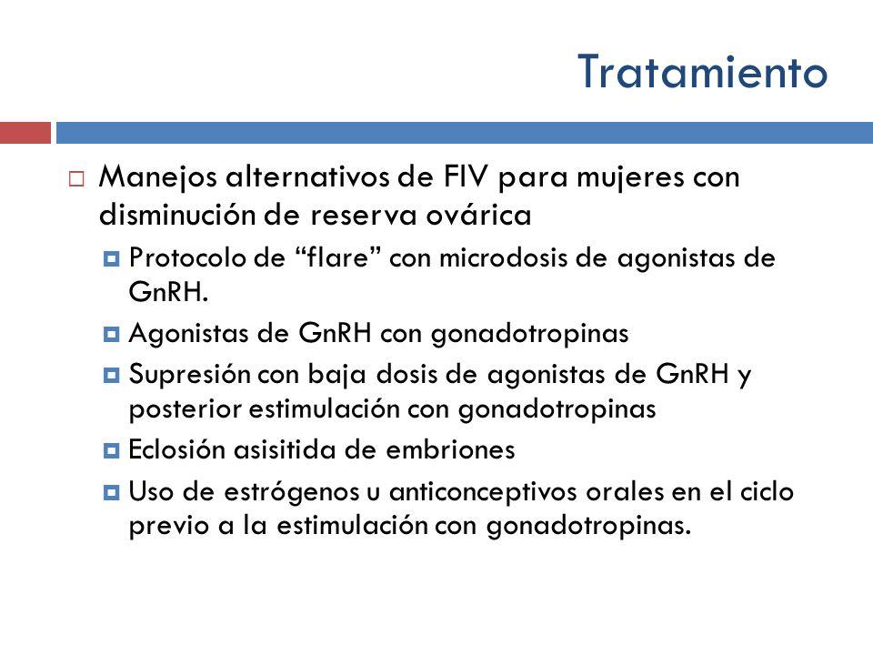 Manejos alternativos de FIV para mujeres con disminución de reserva ovárica Protocolo de flare con microdosis de agonistas de GnRH. Agonistas de GnRH
