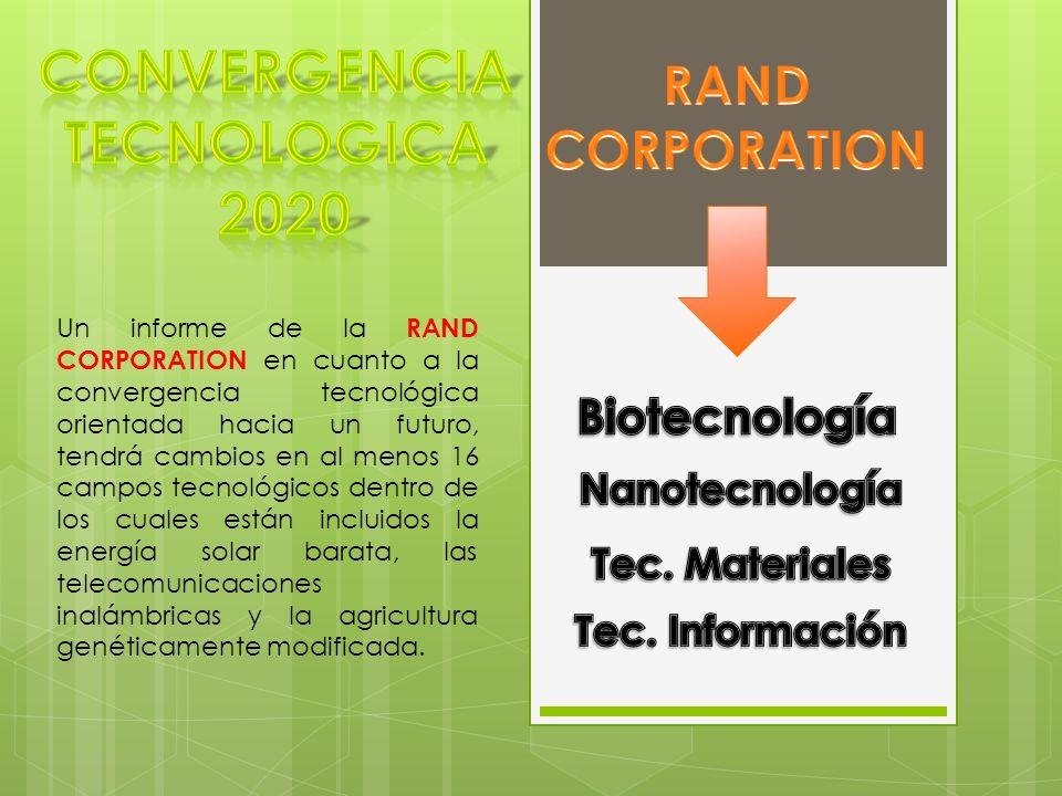 Un informe de la RAND CORPORATION en cuanto a la convergencia tecnológica orientada hacia un futuro, tendrá cambios en al menos 16 campos tecnológicos