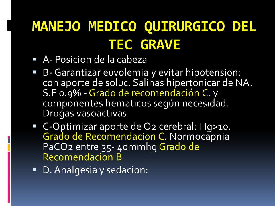 MANEJO MEDICO QUIRURGICO DEL TEC GRAVE A- Posicion de la cabeza B- Garantizar euvolemia y evitar hipotension: con aporte de soluc. Salinas hipertonica