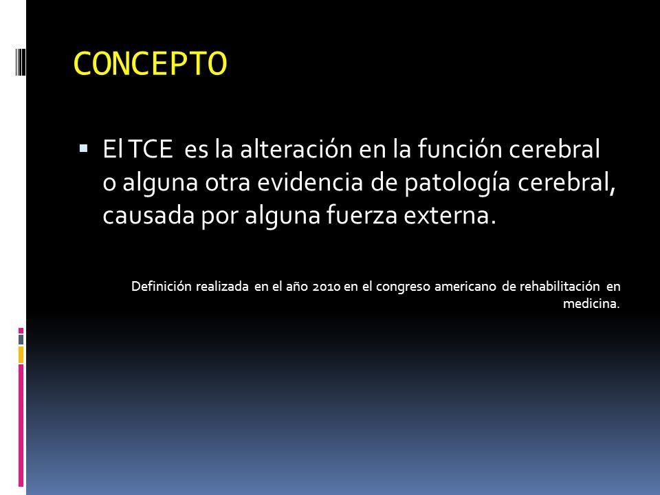 CONCEPTO El TCE es la alteración en la función cerebral o alguna otra evidencia de patología cerebral, causada por alguna fuerza externa. Definición r