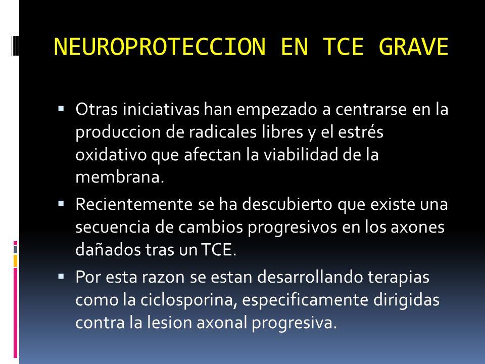 NEUROPROTECCION EN TCE GRAVE Otras iniciativas han empezado a centrarse en la produccion de radicales libres y el estrés oxidativo que afectan la viab
