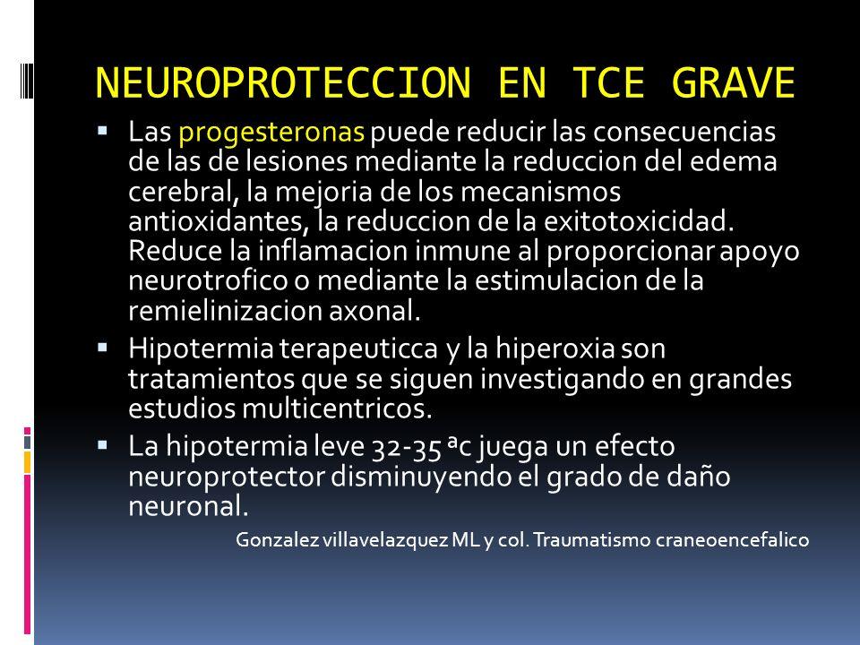 Las progesteronas puede reducir las consecuencias de las de lesiones mediante la reduccion del edema cerebral, la mejoria de los mecanismos antioxidan