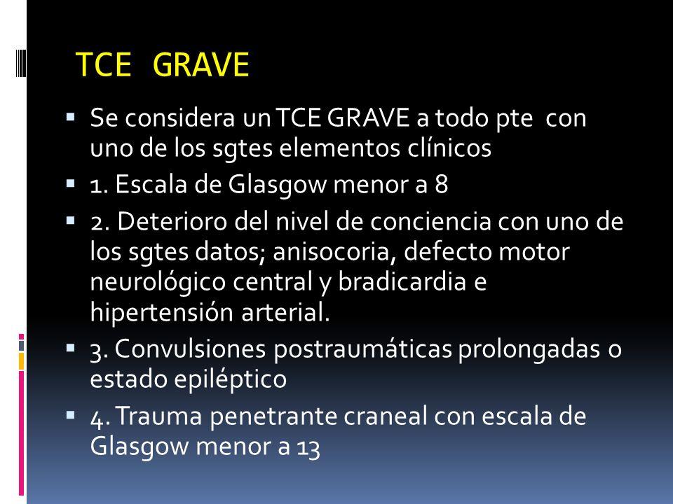 TCE GRAVE Se considera un TCE GRAVE a todo pte con uno de los sgtes elementos clínicos 1. Escala de Glasgow menor a 8 2. Deterioro del nivel de concie