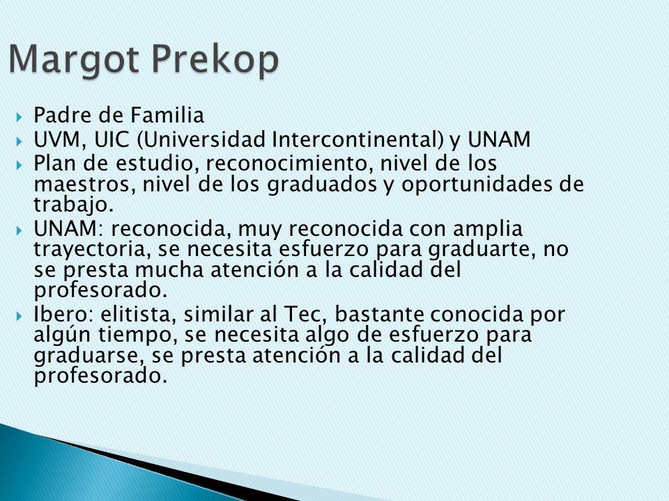 Margot Prekop Padre de Familia UVM, UIC (Universidad Intercontinental) y UNAM Plan de estudio, reconocimiento, nivel de los maestros, nivel de los graduados y oportunidades de trabajo.