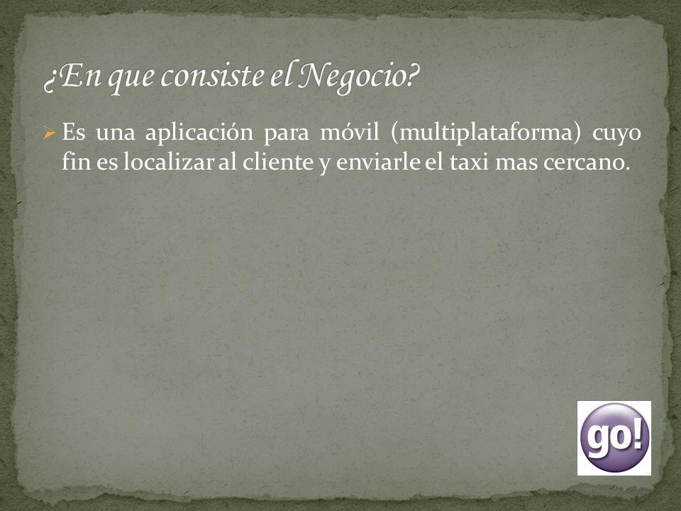 Es una aplicación para móvil (multiplataforma) cuyo fin es localizar al cliente y enviarle el taxi mas cercano.