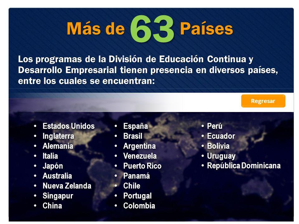 Más de Países Los programas de la División de Educación Continua y Desarrollo Empresarial tienen presencia en diversos países, entre los cuales se enc