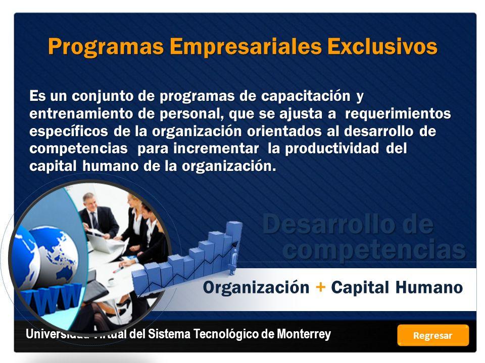 Organización + Capital Humano Programas Empresariales Exclusivos Es un conjunto de programas de capacitación y entrenamiento de personal, que se ajust