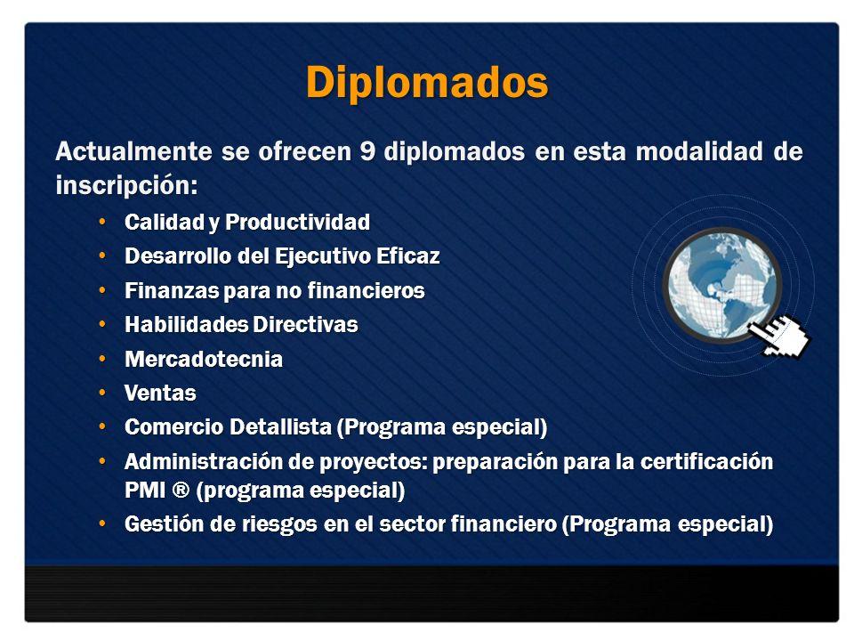 Diplomados Actualmente se ofrecen 9 diplomados en esta modalidad de inscripción: Calidad y Productividad Calidad y Productividad Desarrollo del Ejecut