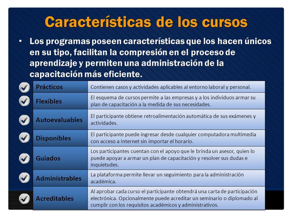 Características de los cursos Los programas poseen características que los hacen únicos en su tipo, facilitan la compresión en el proceso de aprendiza