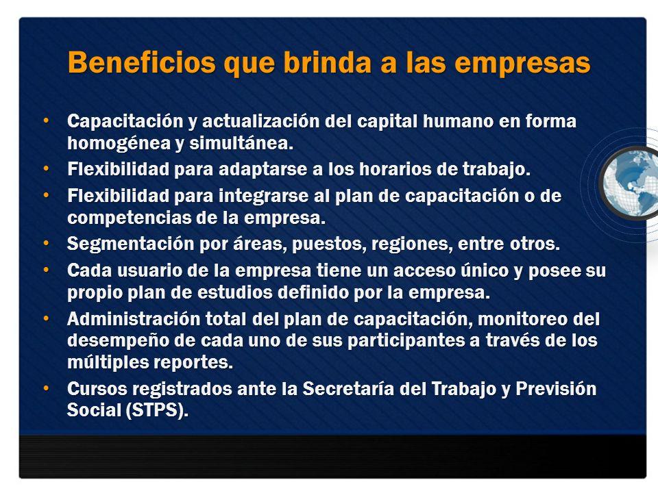 Beneficios que brinda a las empresas Capacitación y actualización del capital humano en forma homogénea y simultánea. Capacitación y actualización del