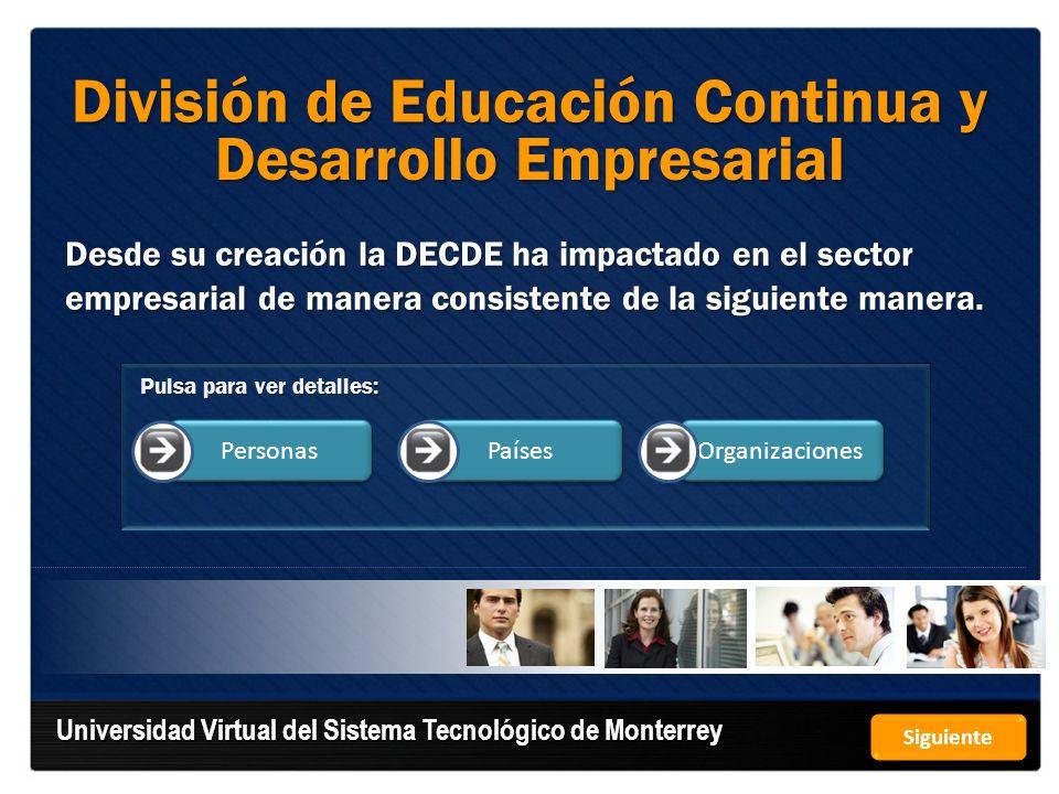 Hasta el año 2010 la División de Educación Continua de la Universidad Virtual del Sistema Tecnológico de Monterrey ha atendido a más de 1,665,038 personas, las cuales han recibido 18,955,969 horas de capacitación.