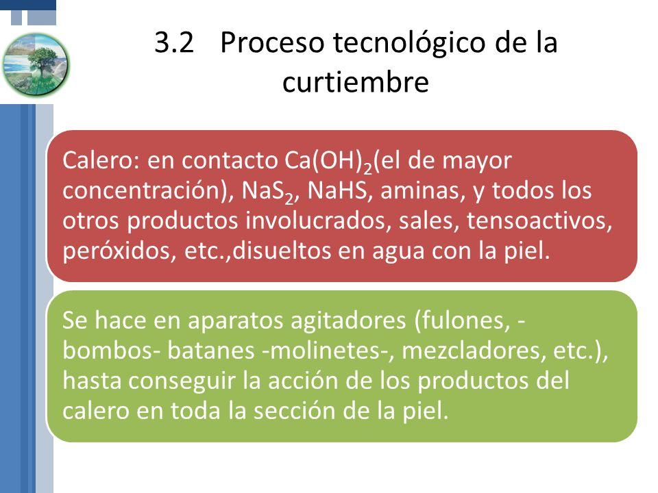 3.2Proceso tecnológico de la curtiembre Calero: en contacto Ca(OH)2(el de mayor concentración), NaS2, NaHS, aminas, y todos los otros productos involu