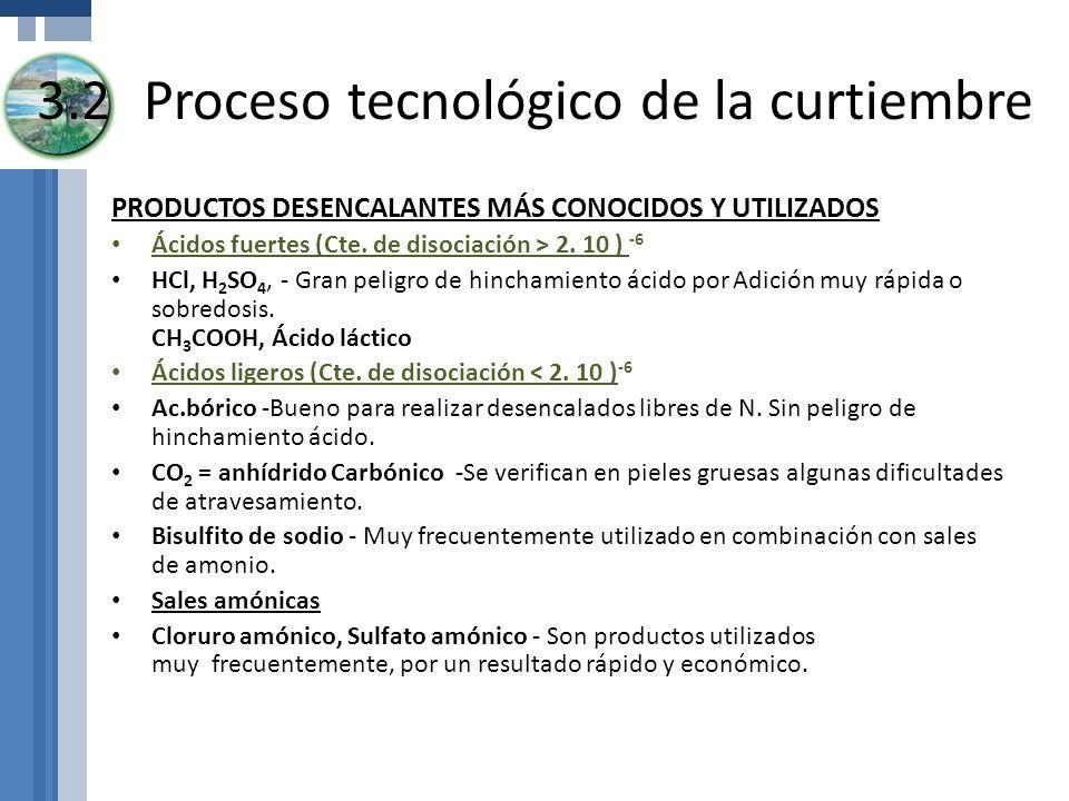 3.2Proceso tecnológico de la curtiembre PRODUCTOS DESENCALANTES MÁS CONOCIDOS Y UTILIZADOS Ácidos fuertes (Cte. de disociación > 2. 10 ) -6 HCl, H 2 S