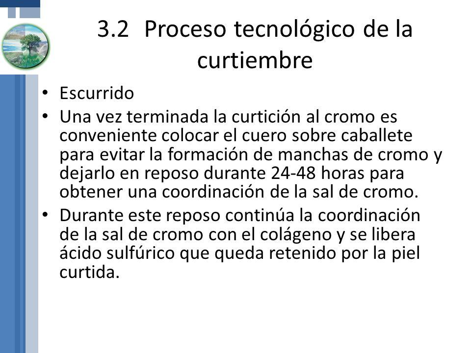 3.2Proceso tecnológico de la curtiembre Escurrido Una vez terminada la curtición al cromo es conveniente colocar el cuero sobre caballete para evitar