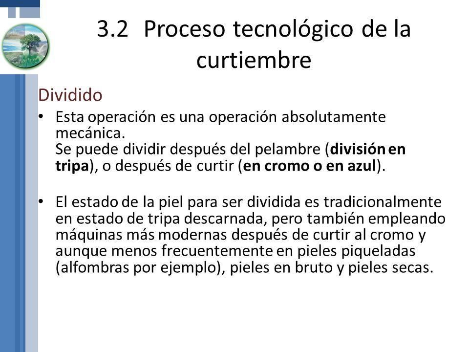 3.2Proceso tecnológico de la curtiembre Dividido Esta operación es una operación absolutamente mecánica. Se puede dividir después del pelambre (divisi